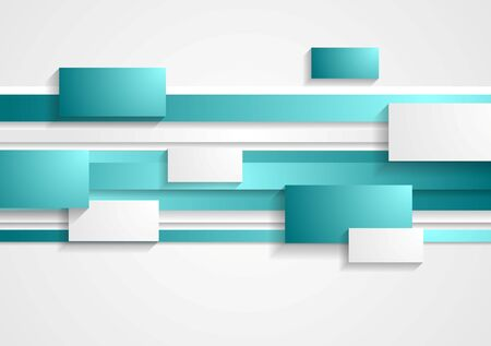 background colors: Cyan and white rectangles and stripes. Tech vector geometric background