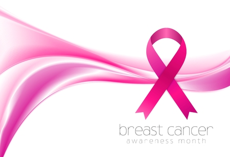 breast: Breast cancer awareness month. Smooth wave and ribbon design. Vector background