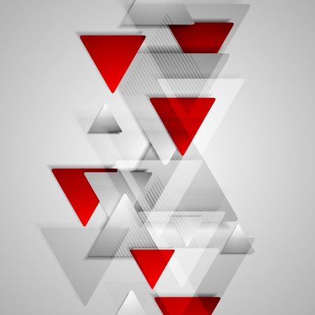 Corporate geometric background with grey and red triangles. Vector design illustration