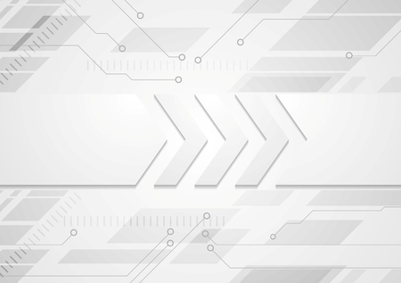 Tech grey abstract background with big arrows. Vector design Çizim
