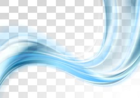 Blauwe glad wazig transparante golven ontwerp. Vector achtergrond