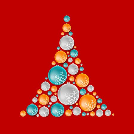 bright christmas tree: Bright abstract fir tree from Christmas balls. Vector design