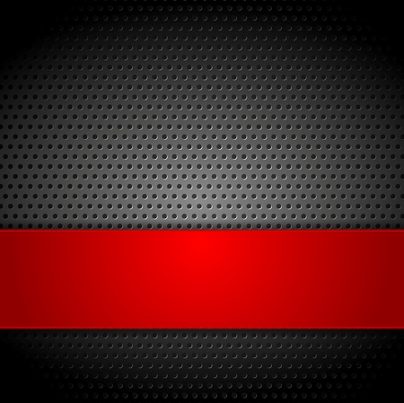 black and red: Abstract metal perforated concept background. Vector design