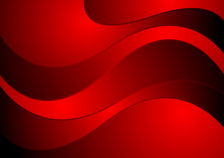 red banner: Dark red waves corporate design. Vector background