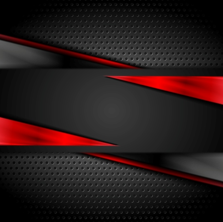 black and red: Tech dark design with perforated metal texture. Vector background