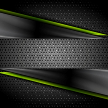 shiny metal background: Tech dark glossy background with perforated metal texture. Vector illustration
