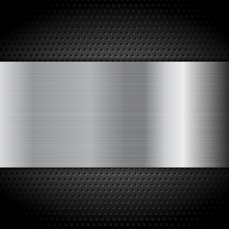 metal plate: Metal texture plate on perforated background. Vector design Illustration