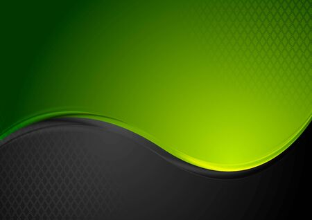 contrast: Green and black contrast wavy background. Vector design