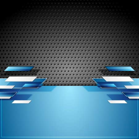 black blue: Abstract tech geometric corporate background. Vector design