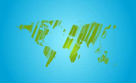 blue green background: Bright green grunge world map on blue background. Vector design