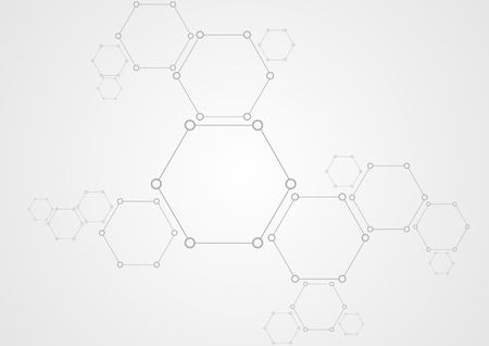 grey background: Molecular structure abstract tech background. Light grey vector medical design