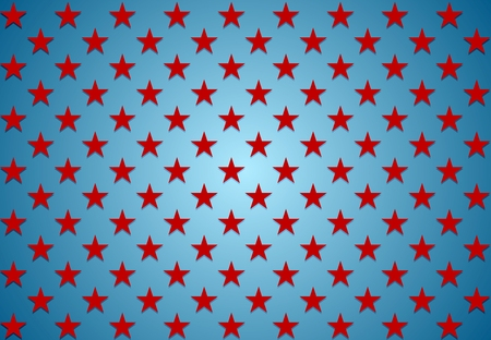 Abstract red stars on blue background. Vector Veterans Day design Illustration