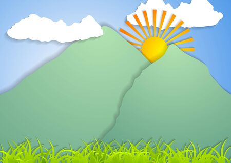 mountain landscape: Flat mountain landscape abstract vector background