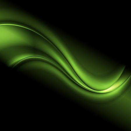 Green iridescent abstract wavy background. Vector dark design Vettoriali