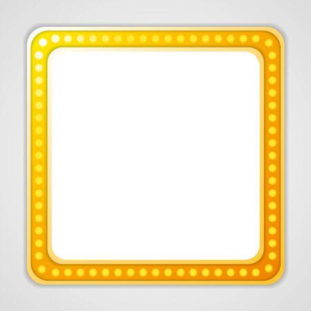 blank sign: Shining blank square retro light banner. Vector design