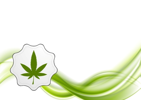 Green waves and cannabis leaf vector abstract background