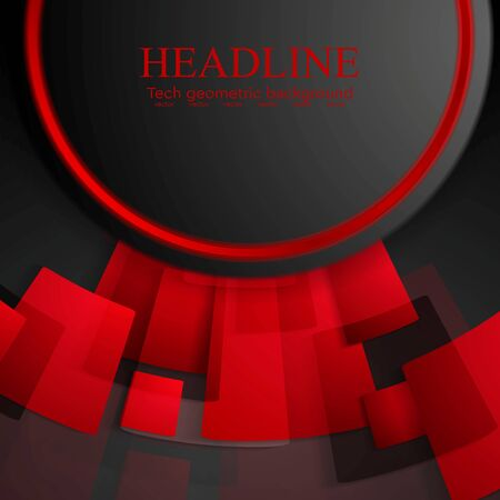 black background abstract: Abstract tech red and black background. Vector design