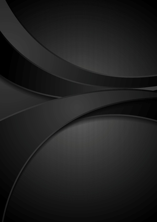 Black corporate abstract wavy background. Vector illustration design Çizim