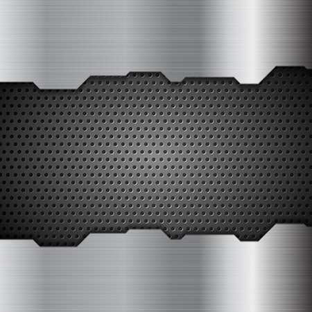 Metal perforated texture tech background. Vector design