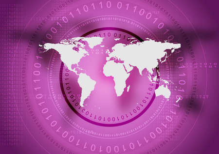 violet background: Abstract tech violet background with world map. Vector design