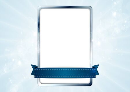 silver frame: Blank white rectangle with silver frame and blue tape. Vector background design