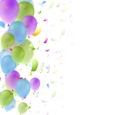 Bright balloons and confetti birthday background. Greeting card vector design Vettoriali