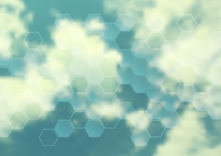 cloudscape: Cloudscape abstract design with hexagon texture. Vector background Illustration