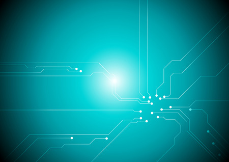 cerulean: Turquoise tech circuit board background. Vector design