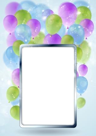 marco cumpleaños: Diseño de la tarjeta de felicitación con marco de plata y globos en blanco. Vector de fondo Vectores