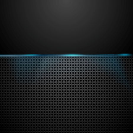 perforated: Dark perforated background with blue glow light. Vector design