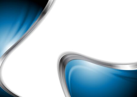 blue metal: Abstract blue smooth design with metal waves. Vector background Illustration