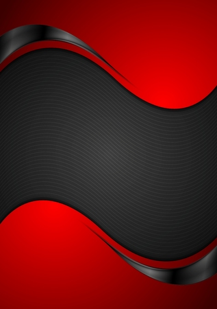 Red black contrast wavy background. Vector illustration