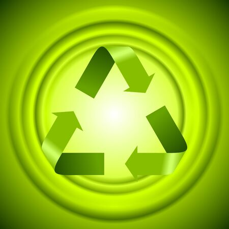 recycle logo: Green recycle logo sign with smooth circles. Vector design template Illustration