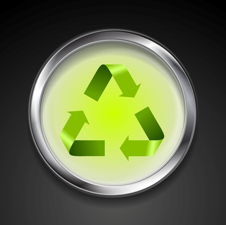 recycle logo: Metal button with green recycle logo sign. Vector background template Illustration