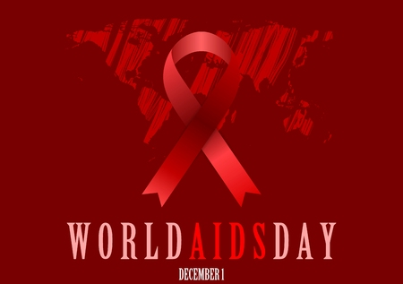 aids symbol: World Aids Day with red ribbon and grunge map. Vector background