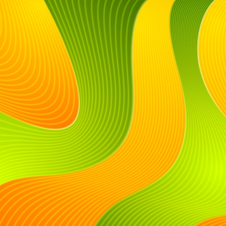digital art: Orange and green wavy abstract design. Vector graphic background