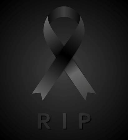 rip: Black mourning tape and rip inscription. Rest in peace. Vector design