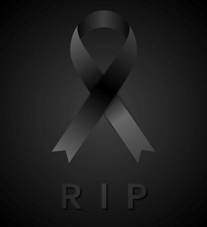 luto: Cinta de luto negro y la inscripci�n estafa. Descansa en paz. Dise�o vectorial
