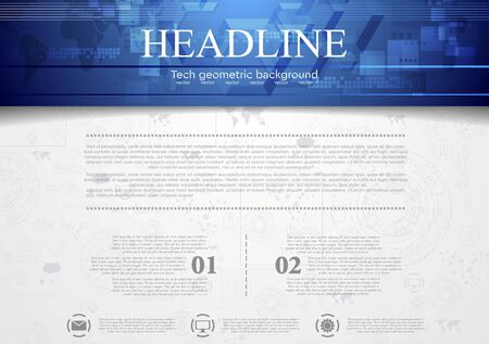 backdrops: Hi-tech corporate background with blue header. Vector design Illustration