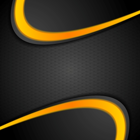 black yellow: Black orange contrast wavy background. Vector corporate graphic design Illustration