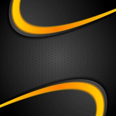 amarillo y negro: Contraste naranja Negro Fondo ondulado. Vector diseño gráfico corporativo Vectores