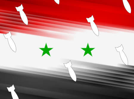 warheads: Abstract Syrian flag and air warheads illustration. Vector graphic design