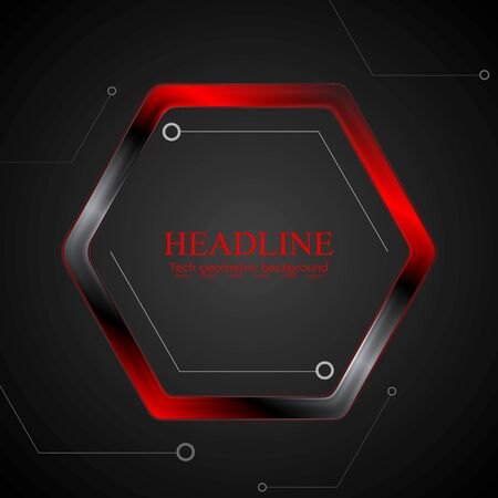Black and red metal hexagon tech drawing. Vector illustration background