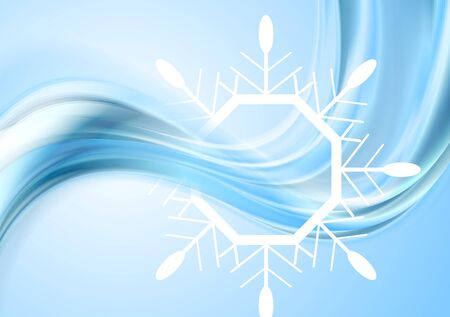 big waves: Bright waves Christmas background with big snowflake. Vector design Illustration