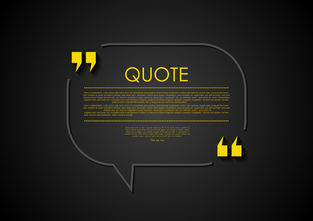 black yellow: Quote speech bubble abstract design. Vector illustration