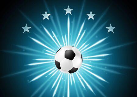 ballon foot: fond de soccer abstraite avec le ballon et les étoiles. Vector design