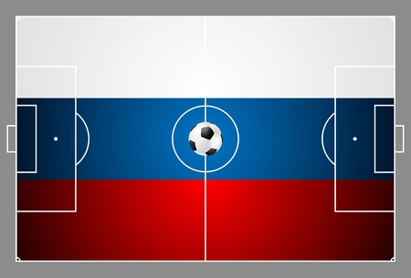 football field: Bright soccer background with ball. Russian colors football field. Vector design