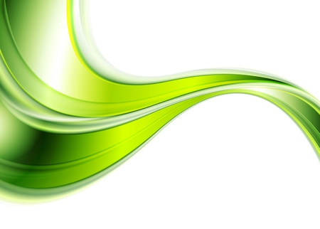 Green abstract smooth waves background. Vector design