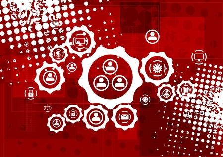 gear: Red grunge hi-tech background with communication icons on gears. Illustration