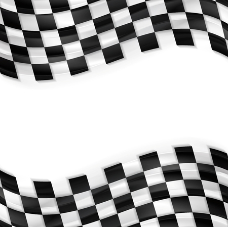 finish line: Finish wavy flag design. Black and white abstract squares Illustration